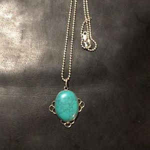 1950s Large Turquoise Silver Necklace